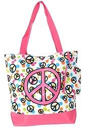 Zebra, Damask, Peace, Polkadot Tote Bag Peace Sign