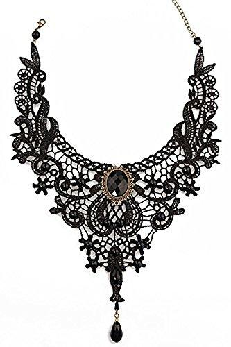 "Gothic collana ""Ivy tendril"" collare collana avanspettacolo punta, satin Rose Rosa Nero"