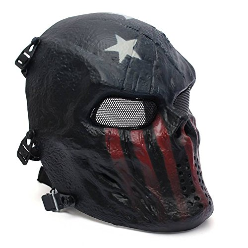 Review Of AUDEW Hot Sell Outdoor Tactical Gear Airsoft Paintball Full Face Protection Skull Mask Cap...
