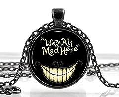 Black Alice in Wonderland Necklace - Cat Quote Pendant