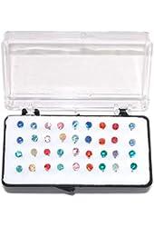 """Set of 36 1/8"""" Crystal Stud Earrings, 18 Pairs, on Nylon (Plastic) Posts"""
