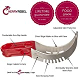 CHERRY REBEL Premium Watermelon Slicer and Melon Baller Set. 304 Stainless Steel Cutter with Comfortable Non-Slip Handle. Adjustable Server Tongs. Lifetime Guarantee