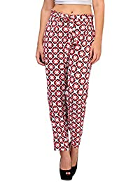 LeFashionelle Crepe Soft Fabric, Regular Fit Printed Western Pajama For Women's & Girl's (Multi-Coloured) - 7154
