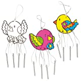 Bird Suncatcher Windchimes for Children to Colour in and Hang as a Window Decoration (Pack of 3)