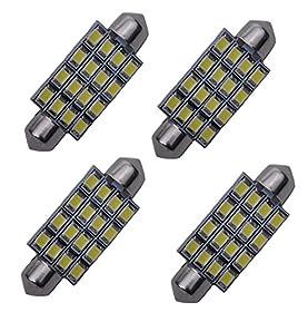 "Cutequeen White 42mm(1.72"") 2835 320 lumens 16-SMD 16SMD 12V Festoon Dome Light LED Bulbs 211-2 212-2 569 578 - White (pack of 4)"