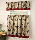 Mk Collection Kitchen Curtain Set Beige Red Rooster New