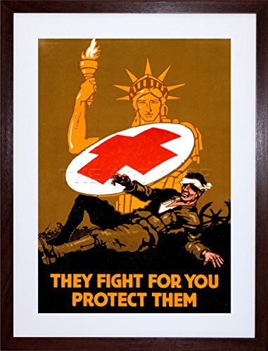 military-war-medical-red-cross-statue-liberty-soldier-framed-art-print-picture-mount-f12x924