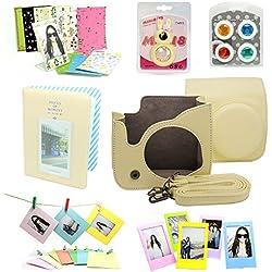7 in 1 instax Mini 8 Instant Film Camera Accessories Bundles ( Yellow Instax Mini 8 Case/ Mini Album/ Close-Up Selfie Lens/ 4 colors Close-Up Lens/ Wall Hang Frames/3 inch Film Frame/ Film Stickers)