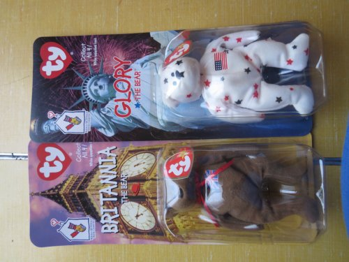 Set of Two Ty Beanie Babies Glory the Bear and Britannia The Bear (McDonald's Teenie Beanies) - 1