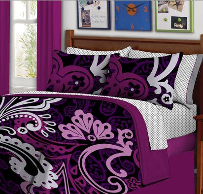 Black & Purple Bold Teen Girls Twin Size Comforter Set (6 Piece Bed In A Bag) front-21081