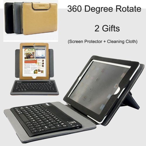 Rock Ipad 2 Bluetooth Keyboard Leather Case with a Screen Protector and a Microfiber Cleaning Cloth As Gifts (Black)