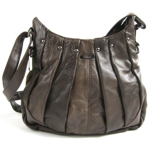 On Trend Ladies Real Leather Handbag / Shoulder Bag with Pleated Design and Long Adjustable Strap (Brown)
