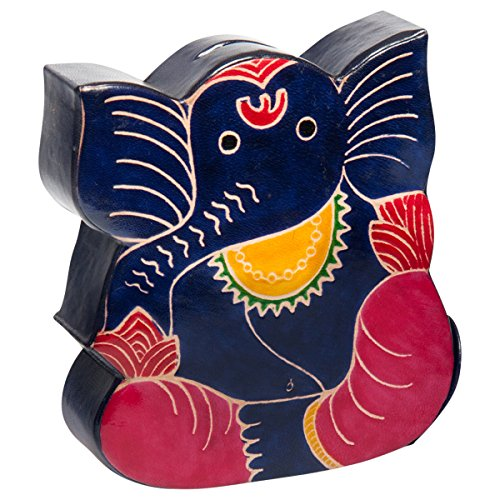 Sitara Collections® Shanti Leather Ganesh Piggy Bank From India - 1