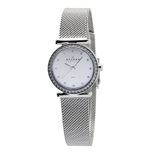 Skagen Designs Ladies Quartz Watch with Mother Of Pearl Dial Analogue Display and Silver Stainless Steel Strap 108SSS1