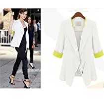 DJT Ladies 3/4 Sleeve Zipper Contrast Color Casual Spring Blazer White M