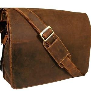 Visconti Unisex Dark Tan Hunter Leather Messenger Man Bag Style 18548