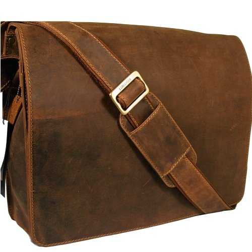 Visconti unisex dark tan hunter leather messenger man bag Style 18548