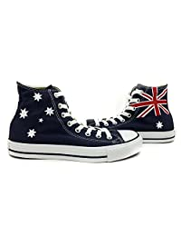Flag of Australia Unisex Converse All Star Shoes Hand Painted Navy Blue High Top Canvas Shoes Sneakers