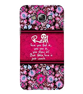 Real Love Is Feel 3D Hard Polycarbonate Designer Back Case Cover for Samsung Galaxy E5 :: Samsung Galaxy E5 E500F (2015)