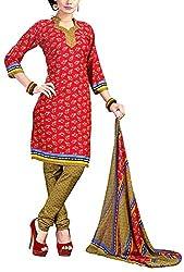Fabiola Trendz Women's Crepe Unstitched Dress Material (Rani Pink)
