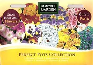 1820 flower seeds (8 in 1) Petunia/Pansy/Nasturtium/Alyssum/Viola/Marigold/Godetia/Lobelia (MULTI-BUY DISCOUNT) Perfect Pots