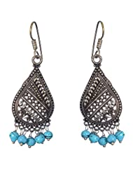Bright And Elegant Pear Shaped Oxidized Metal Earrings With Turquoise Blue Beads For Women