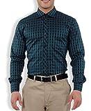 Nick&Jess Mens Blue& Green Checkered Slim Fit Dress Shirt