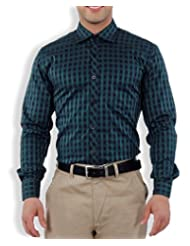 Nick&Jess Mens Blue& Green Checkered Slim Fit Dress Shirt