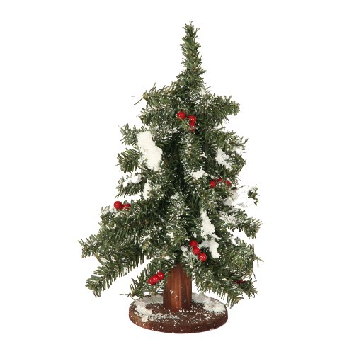 Prelit Art Christmas Trees - 12&quot; Flocked Red Berry Pine Mini Village Artificial Christmas Tree - Unlit