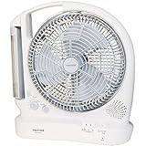TEKNOS 2電源対応【内蔵充電池/AC電源】多機能扇風機 25cm BKL-R30 【首振り・強弱切替・20灯LEDライト・AM/FMラジオ搭載】