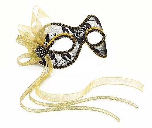 Forum Novelties Women's Ribbon Lace Venetian Mask, Black/Gold, One Size