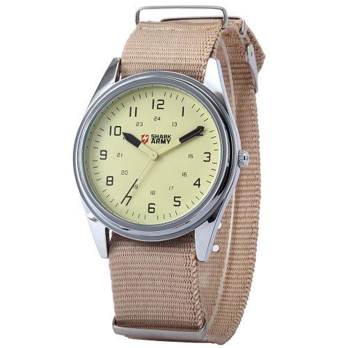 SHARK ARMY Beige Dial Mens Khaki Nylon Military Sport Quartz Wrist Watch SAW033