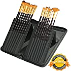 Paint Brush Set - 15 Art Paint Brushes for Acrylic, Watercolor, Oil, Gouache & Face Painting | Professional Artist Materials Kit with Free Holder Case | Suitable for Teens, Intermediates and Beginners | Best Quality Soft, Synthetic, Anti-shedding Hair | Similar to Sable Paintbrushes | Includes Flat, Round, Filbert, Shader, Fan & Script Liner | Premium Supplies By MyArtscape™ | 6 Month Warranty