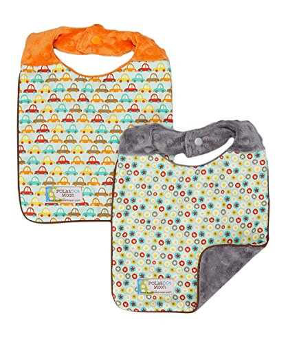 Baby Boy Bib Set of 2 - Reversible - Cars & Stars on Minky