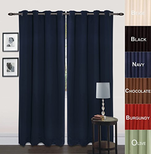 Utopia Bedding Grommet Top Thermal Insulated Blackout Curtains, Set of 2 Panels, 8 Grommets / Rings per panel, 2 Tie Back incuded, Drop Curtain (Long), 52″ Width x 84″ Length, Reduces Heating and Cooling Costs, Blocks Light for a Restful Night's Sleep, Protects Rugs and Furniture from Fading (Navy)