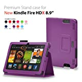 CaseGuru Purple Devine Delight Pad Entertainment Multi-Functional Wallet Stand Case Cover Featuring Magnetic Snap Closure, Pen Holder & Viewing Stand For The Kindle Fire HDX 8.9' Tablet Kindle Fire HDX 8.9 Inch