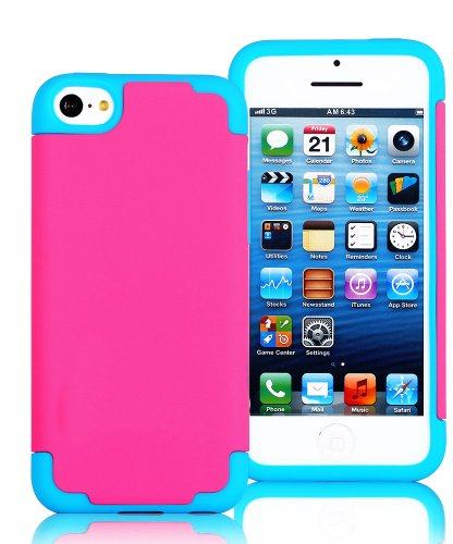 Mylife (Tm) Hot Pink + Sky Blue Style 2 Layer (Hybrid Flex Gel) Grip Case For New Apple Iphone 5C Touch Phone (External Single Piece Full Body Defender Armor Rubberized Shell + Internal Gel Fit Silicone Flex Protector + Lifetime Waranty + Sealed Inside My