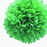 Dress My Cupcake 5-Inch Kelly Green Tissue Paper Pom Poms, Christmas Arts Decorations/Christmas Supplies for Decorating, Set of 8
