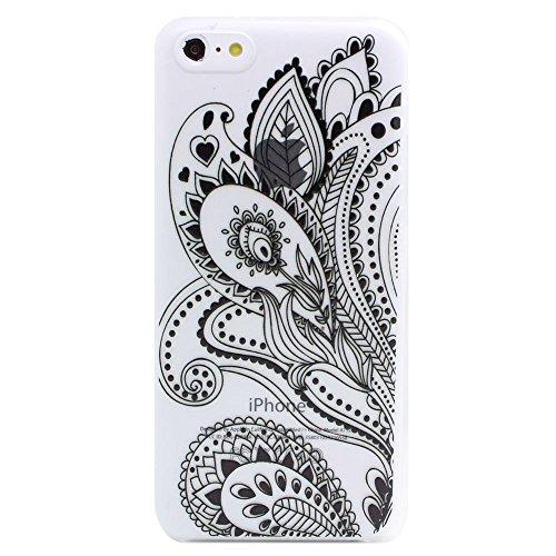 JIAXIUFEN Stampato Modelli Hard Plastica Indietro Case Custodie Cover pelle custodia protettiva Per iPhone 5C -Henna Black Floral Paisley Flower Mandala