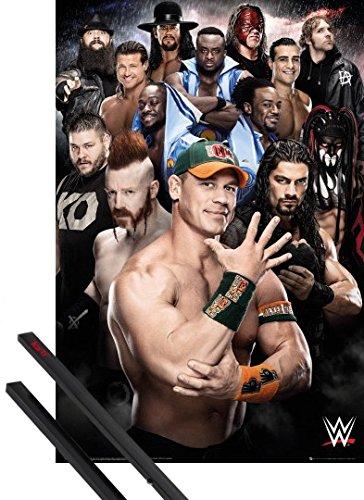 Poster + Sospensione : Wrestling Poster Stampa (91x61 cm) WWE, Superstars 2016 e Coppia di barre porta poster nere 1art1®