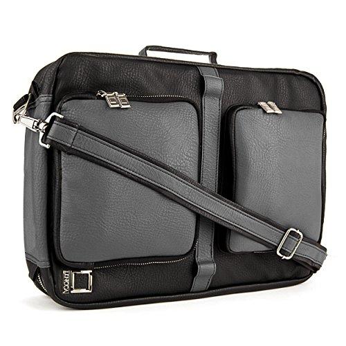 "Lencca Quadracollection 3 In 1 Handbag, Backpack And Messenger Bag For Acer Aspire E5, Es1, E1, M5, V3, V5, V7, S7, R7 13.3"" To 15.6-Inch Laptops (Slate / Black)"