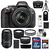 Nikon D5200 Digital SLR Camera & 18-55mm G VR DX AF-S Zoom Lens (Black) with 55-300mm VR Lens + 32GB Card + Battery + Case + Filters + Telephoto & Wide-Angle Lenses + Tripod + Accessory Kit
