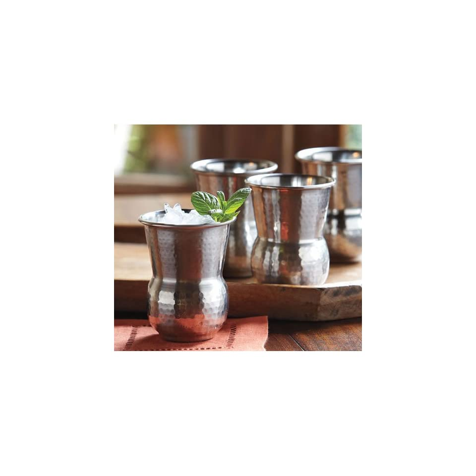 Hammered Stainless Steel Tumblers   Set of four