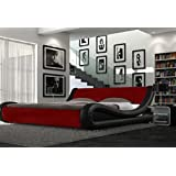 Modern Italian Designer Double Bed Upholstered in Faux Leather, Available in 4 Sizes and 6 Different Colours (Black and Red, Double)