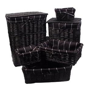 Lot 6 pièces : Set 2 paniers à linge 4 corbeilles paniers osier en bois peint noir , housse amovible noire rayée blanc 51WLIYonGAL._SL500_AA300_