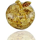 LiveZone Golden Acrylic Apple Valentines Christmas Gift Fashion Home Desk Table Ornaments Decoration Large Apple Paperweight