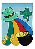 Shamrocks Gold Applique St. Patrick's Day Pot of Gold Clover Garden Flag
