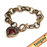 TOOGOO(R) Antique Fashion Red Stone Heart Shaped Link Bracelet Retro Angel Wings Engraved
