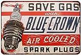 Blue Crown Spark Plugs Vintage Look Reproduction 8x12 Metal Sign 8121433