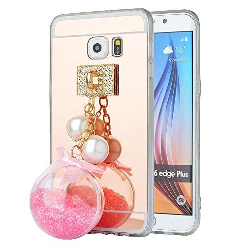 'Spritech (TM) fahion Cellulare, Oro a Specchio morbida per smartphone con una bella Sabbia Ciondolo Accessary, pink, Samsung Galaxy S6 Edge Plus